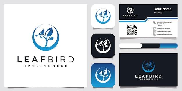 会社と名刺のための葉の鳥のロゴデザインのインスピレーション