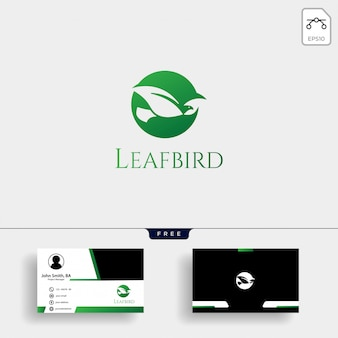 Leaf bird negative logo template with business card