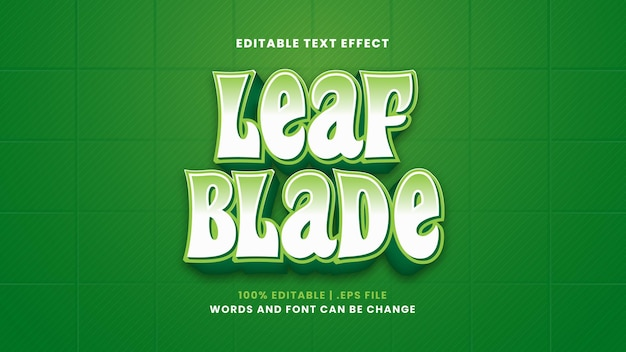 Leaf blade editable text effect in modern 3d style