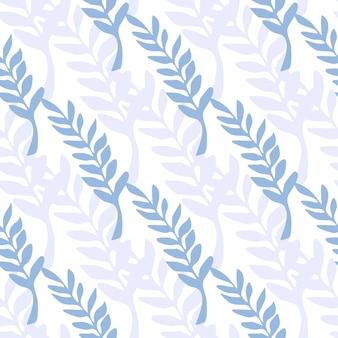 葉の枝の背景。青い葉のシームレスなパターン。テキスタイルや本の表紙、壁紙、デザイン、グラフィックアート、ラッピングの白い背景の上のベクトル図