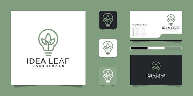 잎 전구 에코 아이디어 로고 디자인, 디자인 컨셉, 창조적 인 기호 및 명함