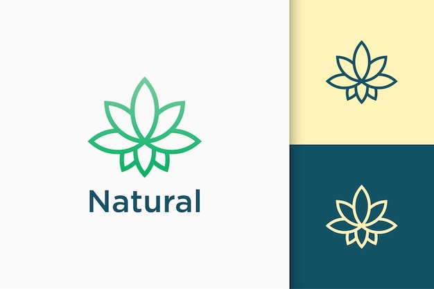 Leaf or cannabis pictorial logo in simple and modern shape