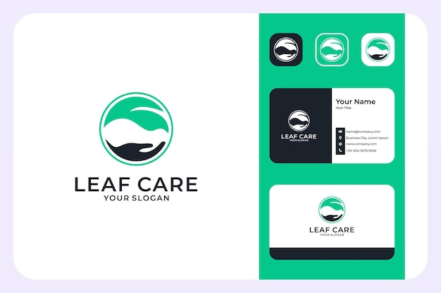 잎과 손 로고 디자인과 명함으로 잎 관리