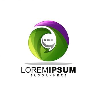 Leaf chat logo design premium