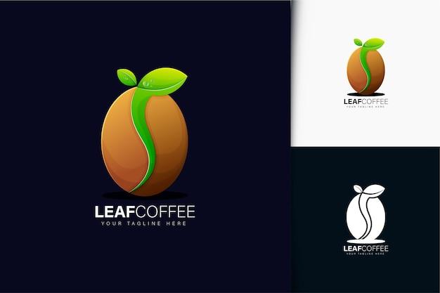 그라디언트가 있는 리프 커피 로고 디자인