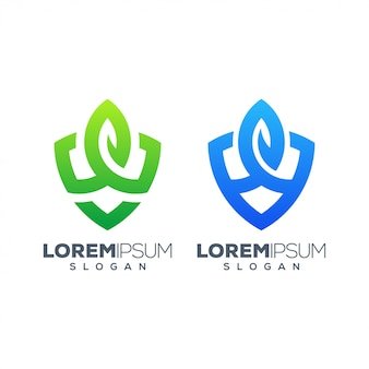 葉のカラフルなロゴデザイン