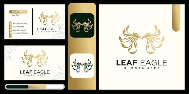 Leaf combination eagle logo design eagle nature logo design illustration with business card