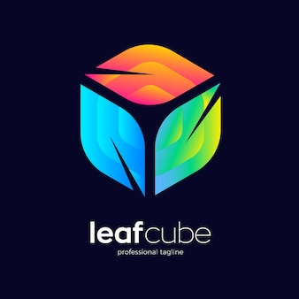 Leaf cube logo design