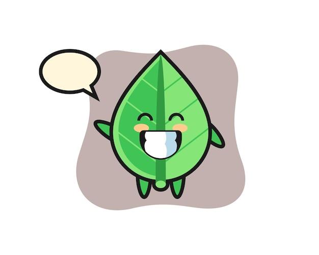 Leaf, cute style design for t shirt, sticker, logo element