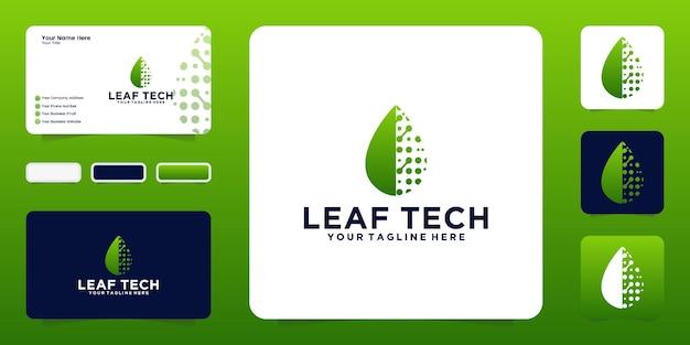 テクノロジーと名刺における葉のデザインのインスピレーション