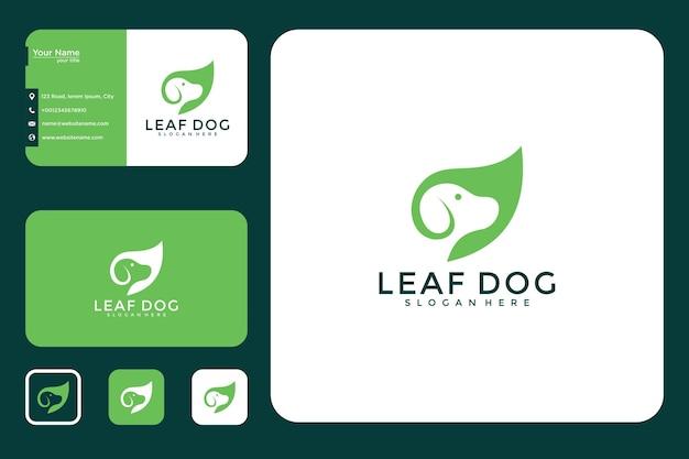 Лист собака дизайн логотипа и визитная карточка