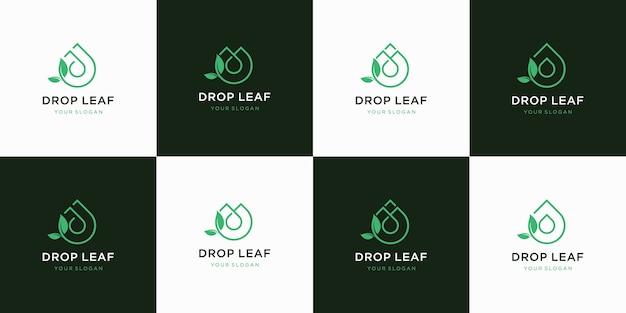 Коллекция дизайна логотипа капли листьев