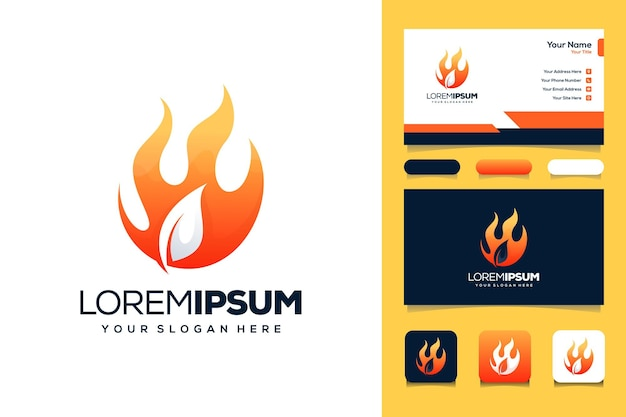 Leaf and fire logo template business card