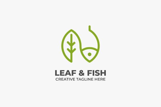 Leaf and fish nature restaurant monoline business logo