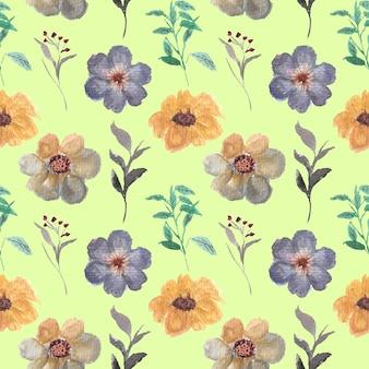 葉の花の水彩画のシームレスなパターン