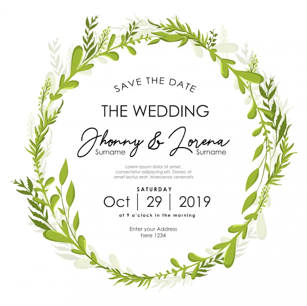 Leaf floral wedding invitation frame watercolor template