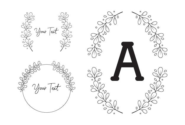 Leaf flower foliage wreath laurel frame border monogram in black white outline style