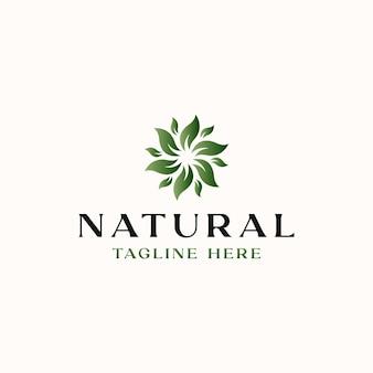 Лист цветок зеленый градиент логотип шаблон изолирован на белом фоне