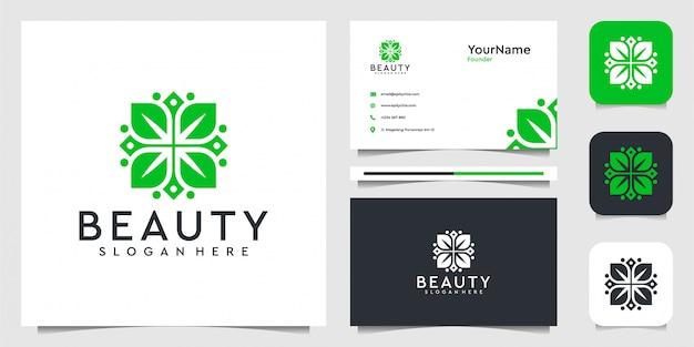緑の葉の花。スーツfoの装飾、スパ、フェミニン、ロゴ、広告、名刺