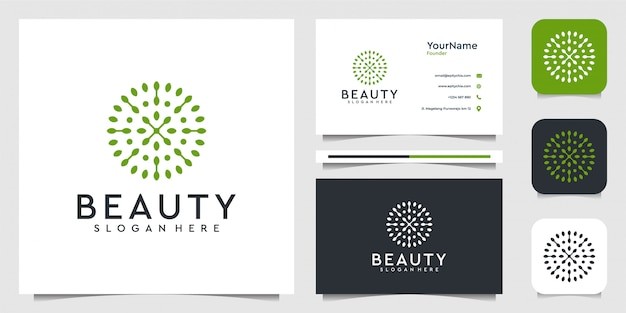 モダンなスタイルで葉の花のロゴイラストグラフィック。植物、グリーン、ブランド、広告、名刺に最適