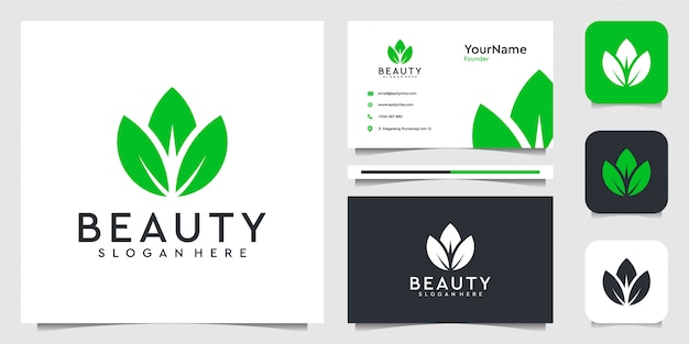 Leaf flower logo illustration  graphic  in modern style. good for plants, green, brand, advertising, and business card