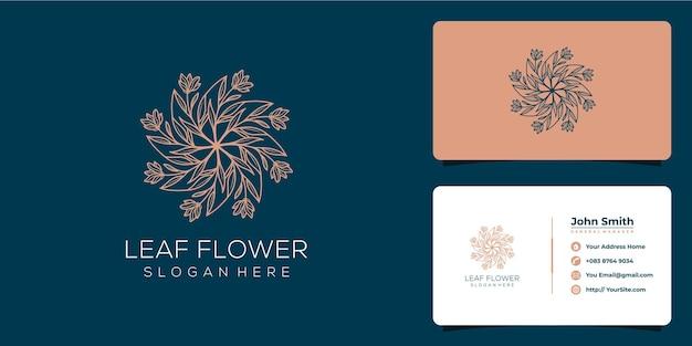 Leaf flower luxury logo anda business card