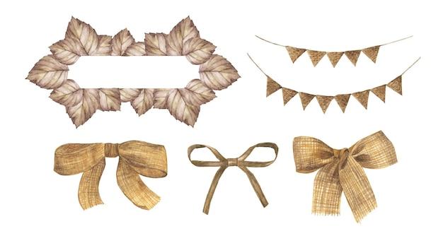 リーフフレーム、ホオジロパステルフラッグ、黄麻布の弓セット。結婚式の招待状、水彩イラストに最適です。