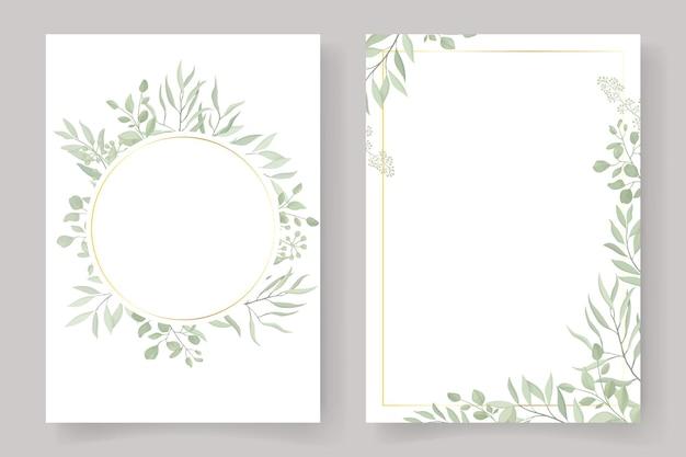 招待状やグリーティングカードのデザインのための葉のフレーム
