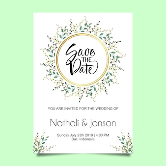 Leaf frame wedding invitation card