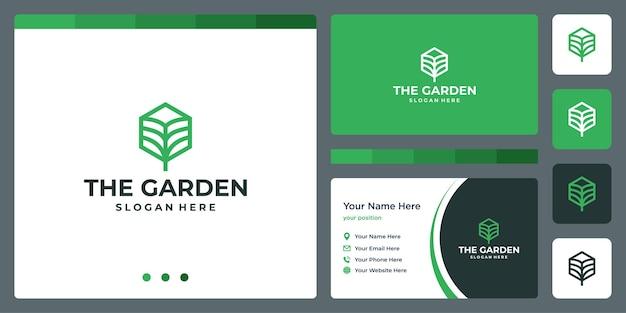 큐브 상자 라인과 명함 디자인 템플릿이 있는 잎 정원 추상 로고. 벡터 프리미엄