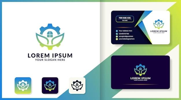 Leaf gear logo design and business card
