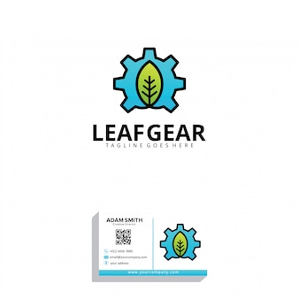Leaf gear logo template