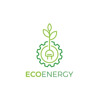 Leaf and gear wheel symbol logo design linear style, eco energy logo template