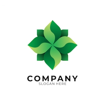 Геометрия листа зеленый логотип