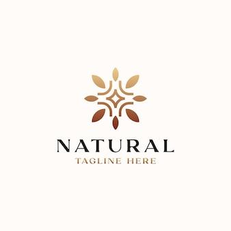 Шаблон логотипа простой концепции лист золотой градиент, изолированные на белом фоне