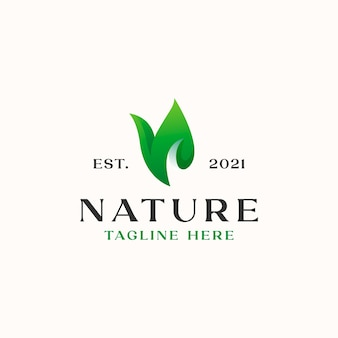 Шаблон логотипа градиент листа, изолированные на белом фоне