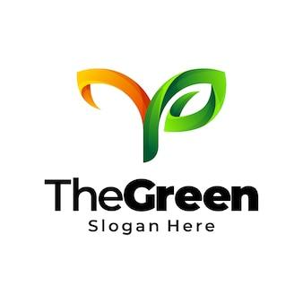 Лист зеленый градиент логотип