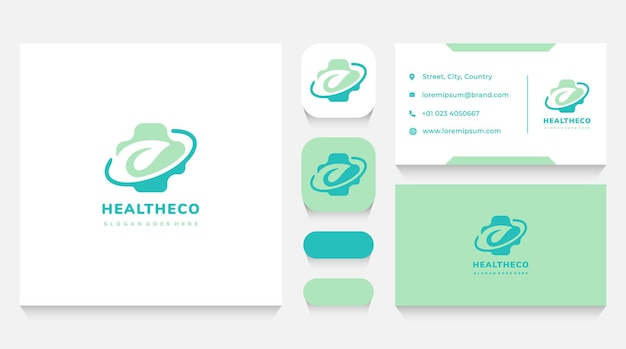 Leaf and herbal health logo template and business card