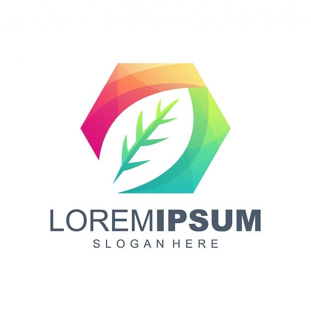 Leaf hexagon gradient logo design