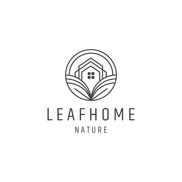 葉のホームラインアートロゴデザインテンプレート