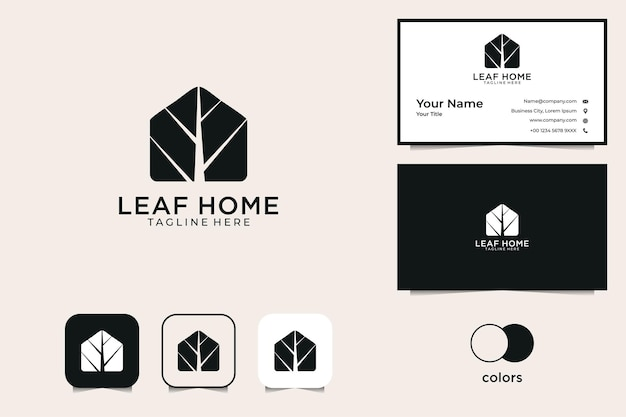 葉の家のロゴと名刺
