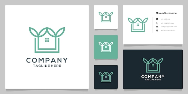 Leaf home logo design line outline style simple minimalist