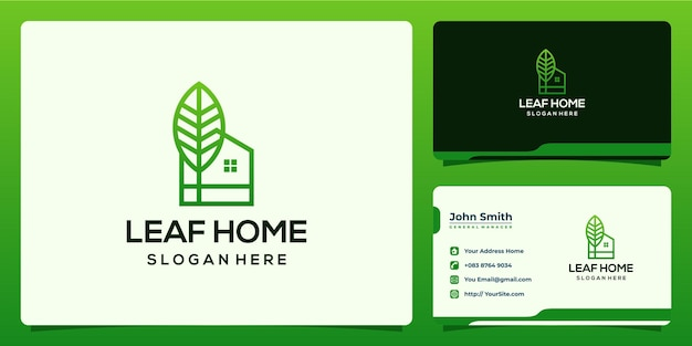 Leaf home nature green logo design and business card