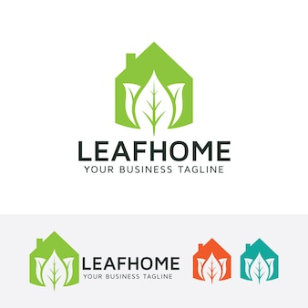 Leaf home vector logo template