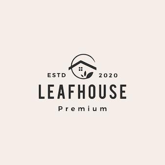 Leaf house home mortgage roof architect hipster vintage logo icon illustration