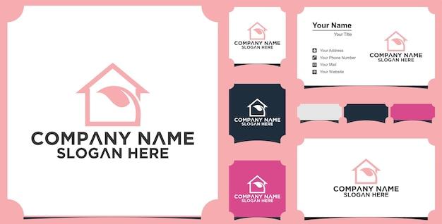 Логотип дома лист и визитная карточка