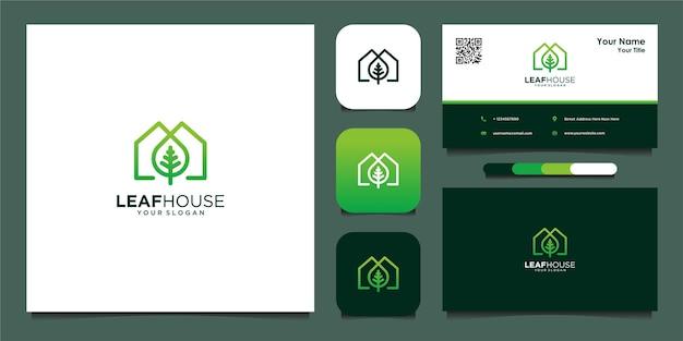 선과 명함이 있는 잎 집 로고 디자인 templatete premium 벡터