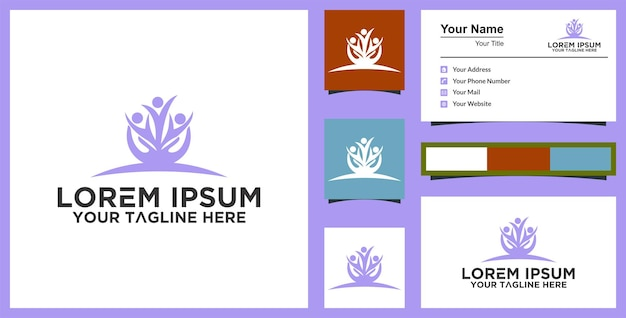 Leaf human logo design for healthy and business card premium