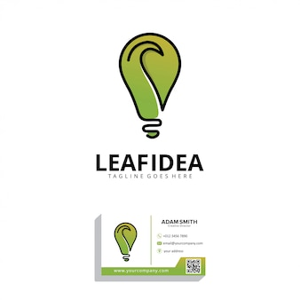 Leaf idea logo design template