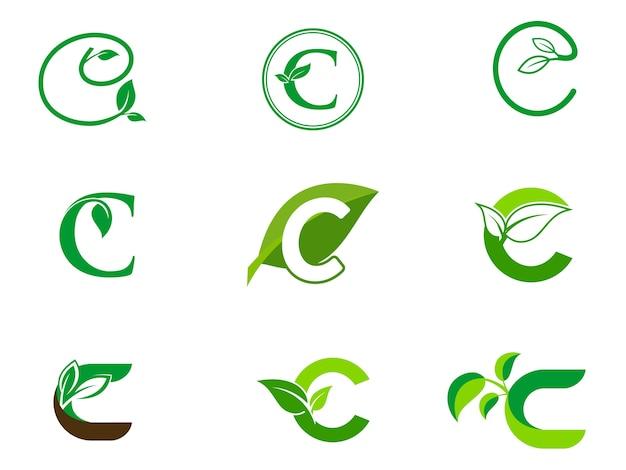 Leaf initials c logo set